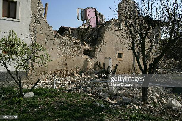 Rubble of a building that was damaged by the earthquake lies on the ground on April 11 2009 in Onna a village near L'Aquila Italy Easter weekend...