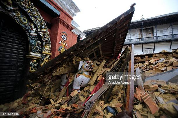 Rubble of a collapsed temple is seen after a powerful earthquake in Kathmandu Nepal on April 28 2015 The death toll in Nepal following the...