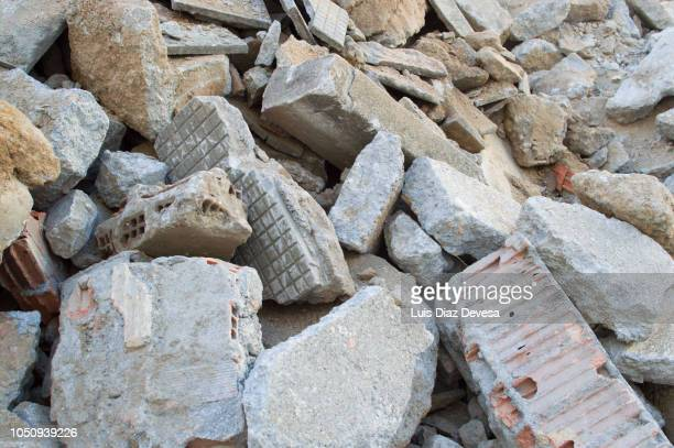 rubble of demolished sidewalk - rubble stock photos and pictures