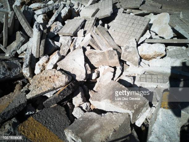 rubble of demolished sidewalk - house collapsing stock pictures, royalty-free photos & images
