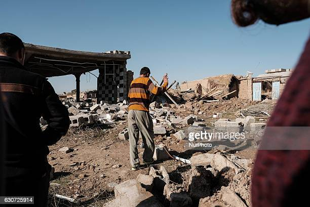 Rubble of destroyed Kakai's house in Tel Laban/ Gazakan on 30 December 2016 The Kakai Kurds are returning to their homes as Mosul offensive...