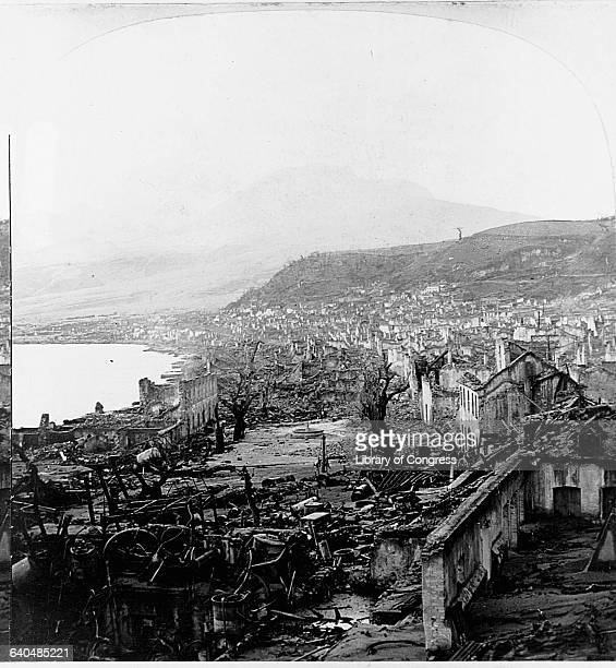 Rubble of the village of SaintPierre after the eruption of Mount Pelee in 1902 | Location Martinique Island
