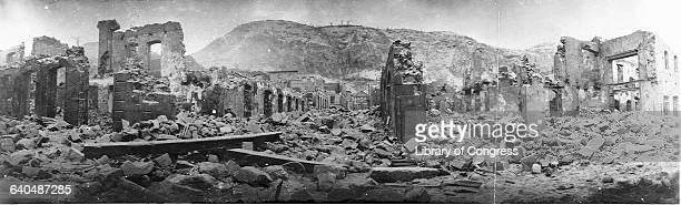 Rubble of the village of SaintPierre after the eruption of Mount Pelee in 1902