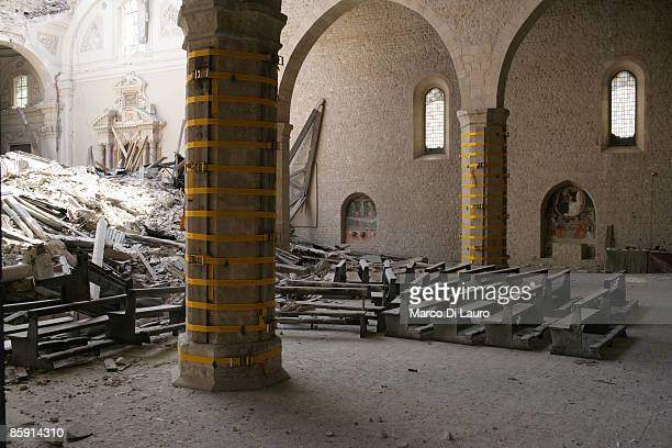L'AQUILA ITALY APRIL 11 Rubble still lies on the floor of the Collemaggio Cathedral on April 11 2009 in L'Aquila Italy Easter weekend brings a...