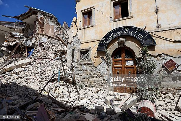 Rubble surrounds a damaged restaurant following an earthquake in Amatrice Italy on Wednesday Aug 24 2016 A powerful earthquake hit central Italy in...