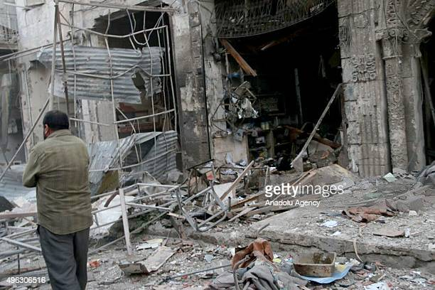 Rubbles of buildings are seen after the Russian air strikes in opposition controlled Maret el Numan district of Idlib Syria on November 08 2015