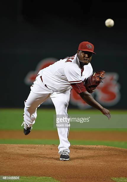 Rubby De La Rosa of the Arizona Diamondbacks delivers a first inning pitch against the Miami Marlins at Chase Field on July 20 2015 in Phoenix Arizona