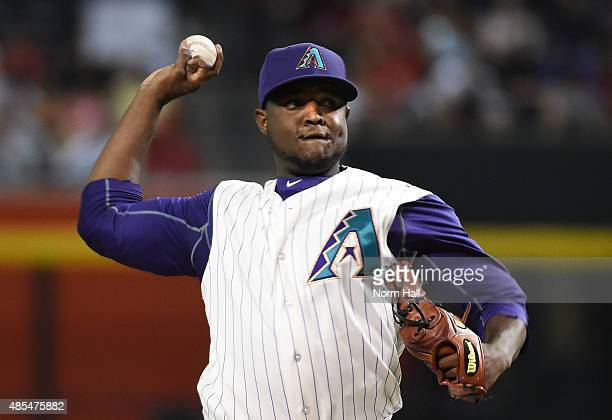 Rubby De La Rosa of the Arizona Diamondbacks delivers a first inning pitch against the St Louis Cardinals at Chase Field on August 27 2015 in Phoenix...