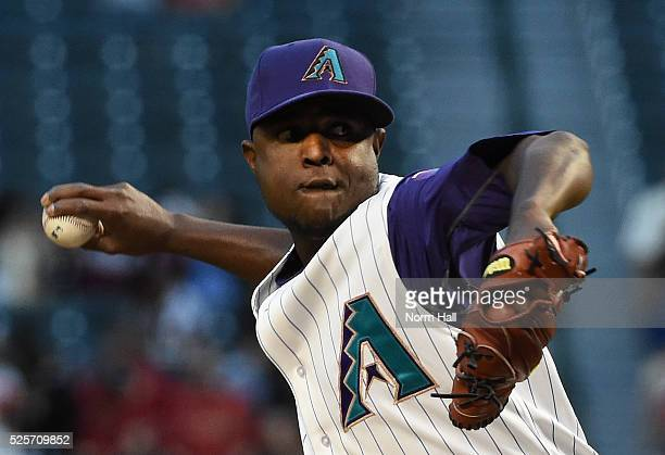 Rubby De La Rosa of the Arizona Diamondbacks delivers a first inning pitch against the St Louis Cardinals on April 28 2016 in Phoenix Arizona