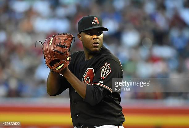 Rubby De La Rosa of the Arizona Diamondbacks delivers a pitch against the Chicago Cubs at Chase Field on May 23 2015 in Phoenix Arizona