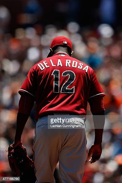 Rubby De La Rosa of the Arizona Diamondbacks looks on between pitches in the first inning against the San Francisco Giants at ATT Park on June 14...