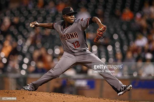 Rubby De La Rosa of the Arizona Diamondbacks pitches against the San Francisco Giants during the tenth inning at ATT Park on April 18 2016 in San...
