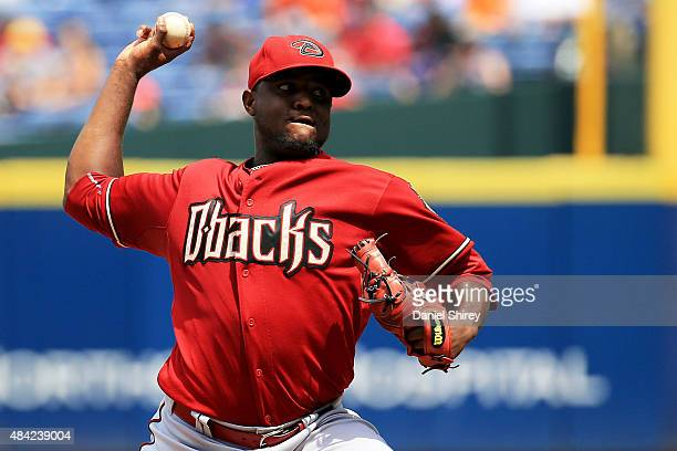 Rubby De La Rosa of the Arizona Diamondbacks pitches in the fifth inning against the Atlanta Braves at Turner Field on August 16 2015 in Atlanta...