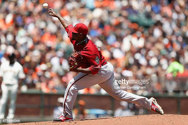 Rubby De La Rosa of the Arizona Diamondbacks pitches in the third inning against the San Francisco Giants at ATT Park on June 14 2015 in San...