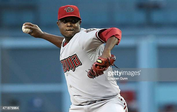 Rubby De La Rosa of the Arizona Diamondbacks throws a pitch against the Los Angeles Dodgers at Dodger Stadium on May 1 2015 in Los Angeles California