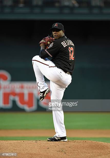 Rubby De La Rosa of the Arizona Diamondbacks throws a warmup pitch prior to the start of a game against the Chicago Cubs at Chase Field on May 23...