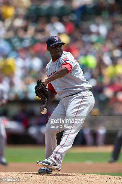 Rubby De La Rosa of the Boston Red Sox pitches against the Oakland Athletics during the first inning at Oco Coliseum on June 21 2014 in Oakland...