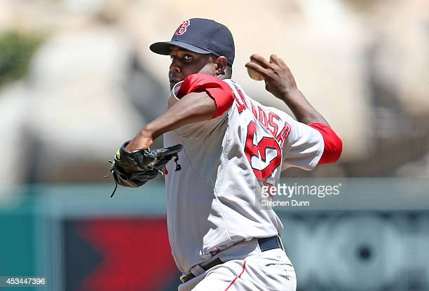 Rubby De La Rosa of the Boston Red Sox throws a pitch against the Los Angeles Angels of Anaheim at Angel Stadium of Anaheim on August 10 2014 in...