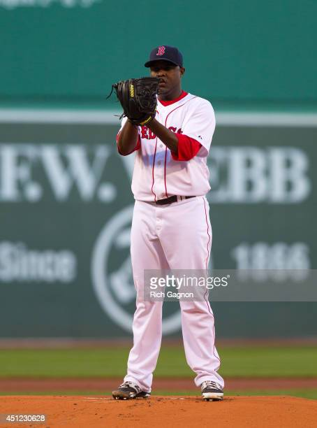 Rubby De La Rosa of the Boston Red Sox throws a pitch during the first inning against the Minnesota Twins at Fenway Park on June 16 2014 in Boston...