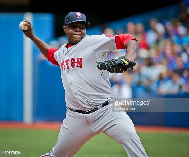 TORONTO ON JULY 24 Rubby De La Rosa of the Boston Red Sox throws during the first inningToronto Blue Jays defeated the Boston Red Sox 80 at the...