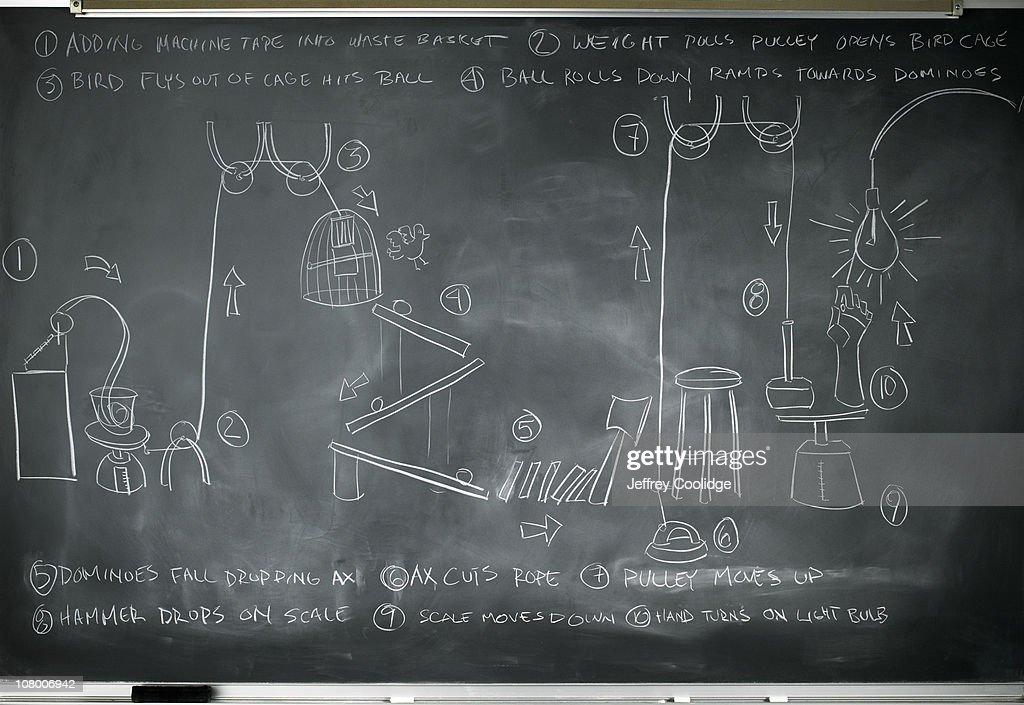 Rube Goldberg Machine on Blackboard : Stock Photo