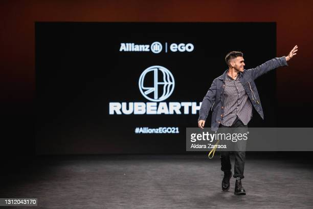 Rubearth walks the runway at the Rubearth fashion show during Samsung EGO Mercedes Benz Fashion Week Madrid April 2021 at Ifema on April 11, 2021 in...