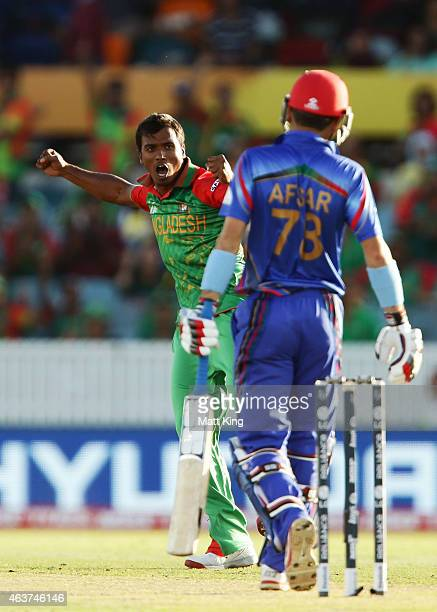 Rubel Hossain of Bangladesh celebrates taking the wicket of Afsar Zazai of Afghanistan during the 2015 ICC Cricket World Cup match between Bangladesh...