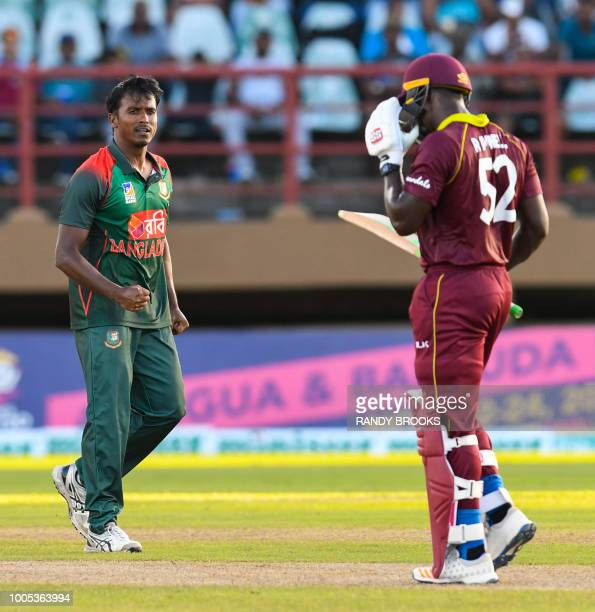 Rubel Hossain of Bangladesh celebrates the dismissal of Rovman Powell of West Indies during the 2nd ODI match between West Indies and Bangladesh at...