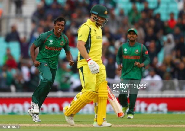 Rubel Hossain of Bangladesh celebrates the wicket of Aaron Finch of Australia during the ICC Champions trophy cricket match between Australia and...