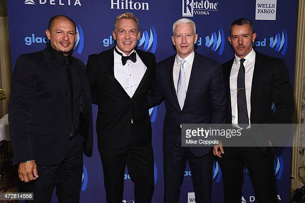Rubem Robierb Sam Champion Anderson Cooper and Benjamin Maisani attend the 26th Annual GLAAD Media Awards In New York on May 9 2015 in New York City