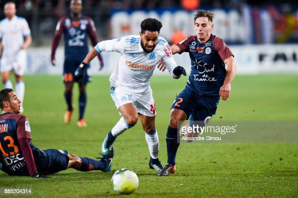 Ruben Aguilar of Montpellier and Jordan Amavi of Marseille during the Ligue 1 match between Montpellier Herault SC and Olympique Marseille at Stade...
