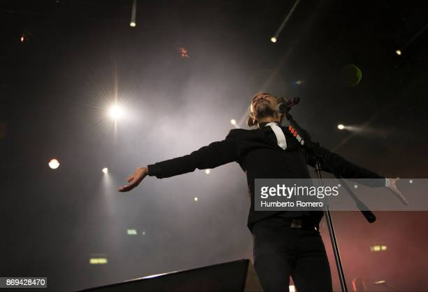 Ruben Albarran from Café Tacuba performs during a show as part of the AMPLIFICA concert in benefit of the September 19th earthquake victims at...
