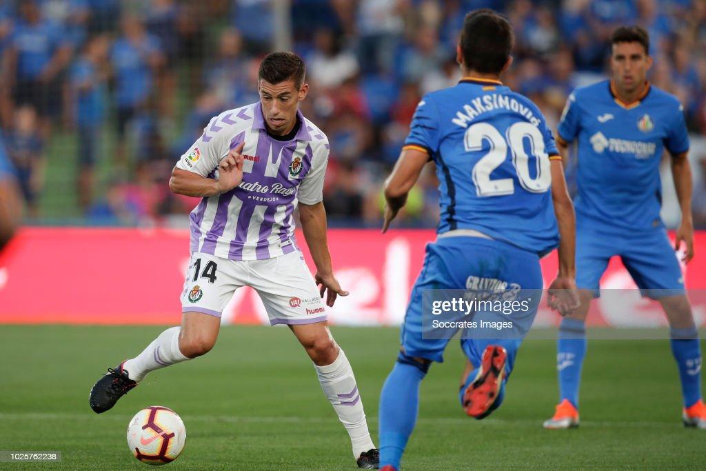 Ruben Alcaraz of Real Valladolid during the La Liga Santander match between Getafe v Real Valladolid at the Coliseum Alfonso Perez on August 31, 2018 in Getafte Spain