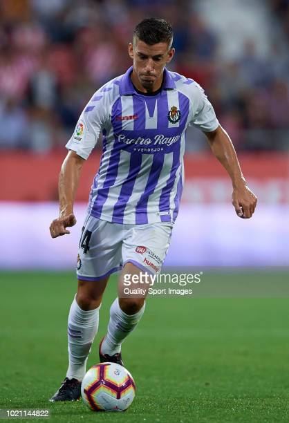 Ruben Alcaraz of Real Valladolid in action during the La Liga match between Girona FC and Real Valladolid CF at Montilivi Stadium on August 17 2018...