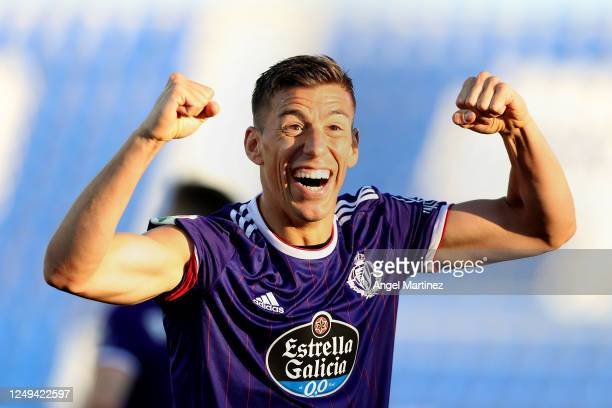Ruben Alcaraz of Valladolid celebrates after scoring his sides second goal during the Liga match between CD Leganes and Real Valladolid CF at Estadio...