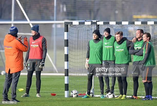Ruben Aulig Vladimir Darida Alexander Esswein Julian Schieber and Valentin Stocker of Hertha BSC during the training on december 7 2016 in Berlin...