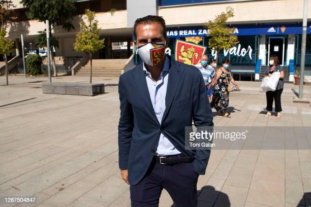 Ruben Baraja arrives at his presentation as new coach for real Zaragoza football club at Romareda Stadium on August 21, 2020 in Zaragoza, Spain.