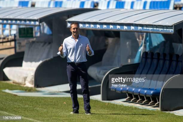 Ruben Baraja attends his presentation as the new Real Zaragoza coach at Romareda Stadium on August 21, 2020 in Zaragoza, Spain.