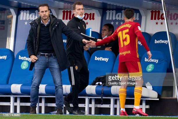 Ruben Baraja head coach and Pep Chavarria of Zaragoza salutes during the La Liga Smartbank match between Leganes and Zaragoza at Estadio de Butarque...