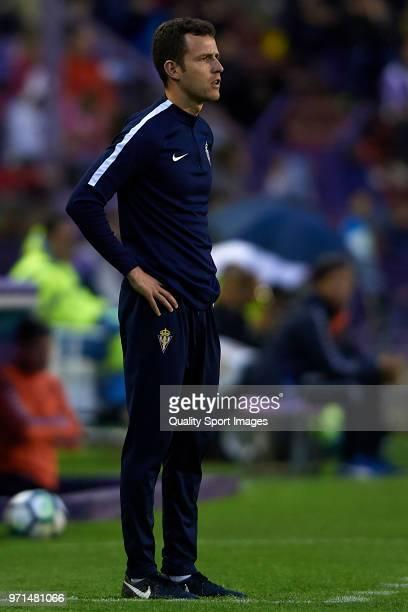 Ruben Baraja, Head Coach of Real Sporting de Gijon looks on during the La Liga 123 play off match between Real Valladolid and Real Sporting de Gijon...