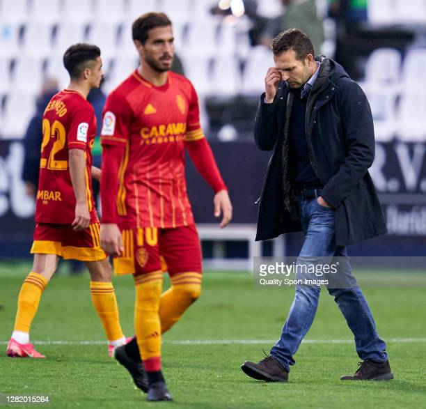 Ruben Baraja head coach of Zaragoza looks down after the game during the La Liga Smartbank match between Leganes and Zaragoza at Estadio de Butarque...