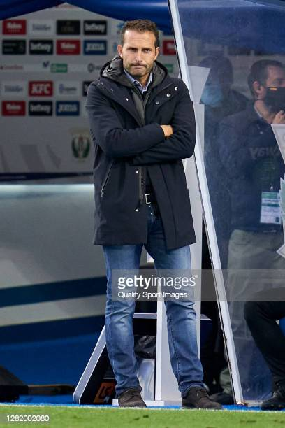 Ruben Baraja head coach of Zaragoza reacts during the La Liga Smartbank match between Leganes and Zaragoza at Estadio de Butarque on October 22, 2020...