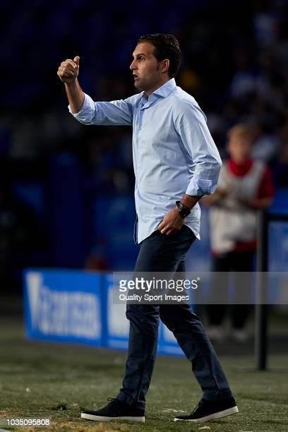 Ruben Baraja the manager of Sporting de Gijon gives his team instructions during the La Liga 123 match between Deportigo de La Coruna and Sporting de...