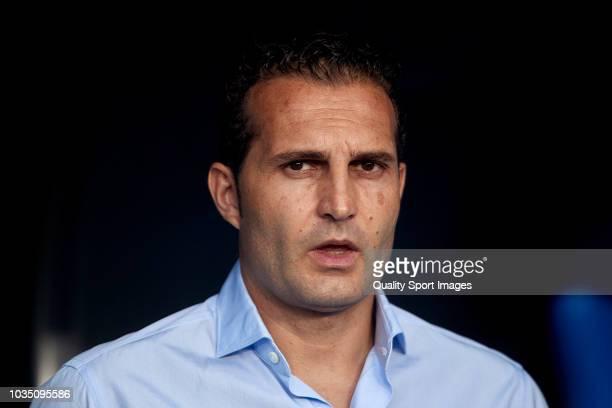 Ruben Baraja the manager of Sporting de Gijon looks on prior to the La Liga 123 match between Deportigo de La Coruna and Sporting de Gijon at Abanca...