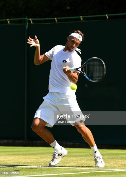 Ruben Bemelans of Belgium plays a forehand during the Gentlemen's Singles second round match against Danii Medvedev of Russia on day three of the...