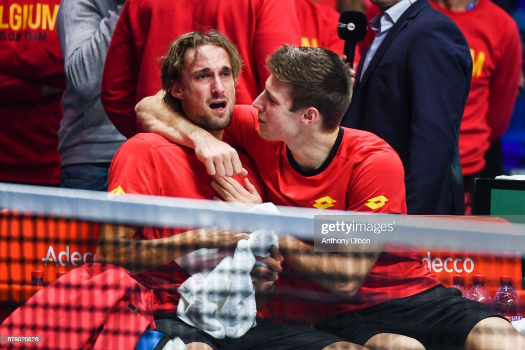 Ruben Bemelmans and Joris De Loore of Belgium dejected during the day 2 of the Final of the Davis Cup match between France and Belgium at Stade Pierre Mauroy on November 25, 2017 in Lille, France.