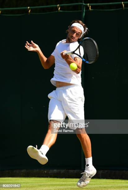 Ruben Bemelmans of Belgium plays a forehand during the Gentlemen's Singles second round match against Danii Medvedev of Russia on day three of the...
