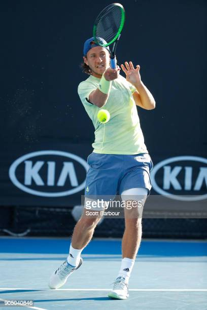 Ruben Bemelmans of Belgium plays a forehand in his first round match against Lucas Pouille of France on day one of the 2018 Australian Open at...