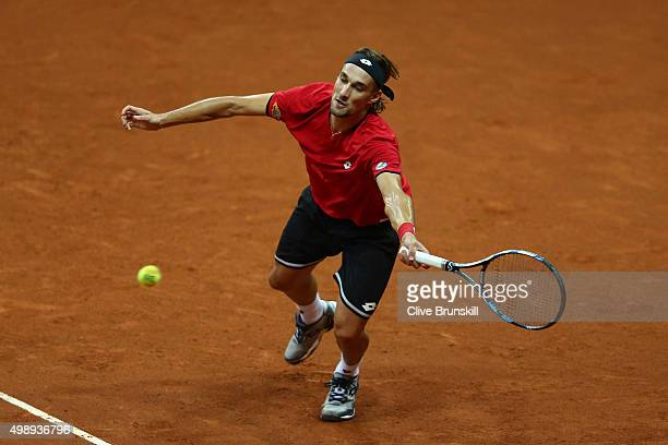 Ruben Bemelmens of Belgium hits a forehand during the singles match against Andy Murray of Great Britain on day one of the Davis Cup Final 2015 at...