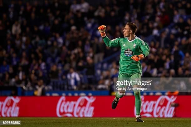 Ruben Blanco of Celta de Vigo celebrates his team's second goal during the La Liga match between Deportivo La Coruna and Celta de Vigo at Abanca...